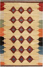 Beautiful Modern Handmade Persian Kilim rug Beige 200 x 135 cm/6'.5'' x 4'.4''