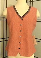 ST JOHN Marie Gray Tea Rose Melange Button Shell Vest Top Sz 10 NEW $470