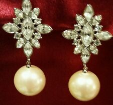 Vintage Monet Faux Pearl and Rhinestone Clip-On Earrings