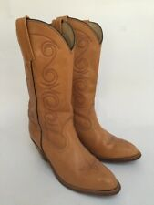 FRYE LADIES CAMEL LEATHER COWBOY BOOTS SIZE 9.5 B