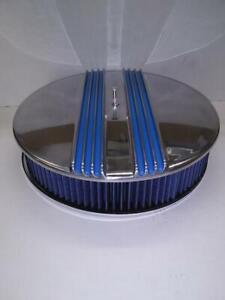 BILLET ALUMINUM 14'' X 3'' BLUE 3 ROW CENTER FINN AIR CLEANER WITH BLUE FILTER