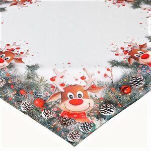 Tischdecke Elch mit roter Nase 85x85 cm Mitteldecke lustiges Weihnachts Motiv