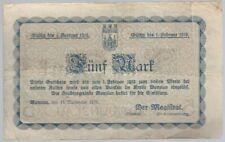 Notgeld - Stadt Bunzlau / Schlesien (heute Bolesławiec/Polen) -5 Mark -1918- RAR