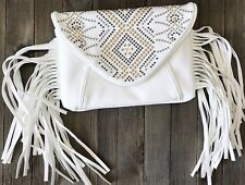 CHINESE LAUNDRY Emmanuel Fringe Crossbody Studded Ivory Envelope Clutch Handbag