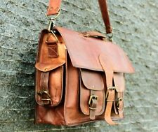 "18"" XL Leather Vintage Bag Shoulder Satchel Handbag School Women Messenger"