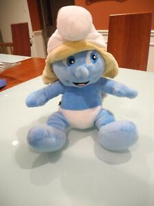 """THE SMURFS SMURFETTE BLUE BLONDE WHITE  HAT BUILD A BEAR 13"""" IN HEIGHT  NICE!!"""