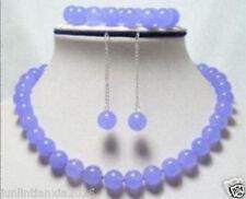 Exquisite 10mm Lavender Jade Necklace Bracelet Earring