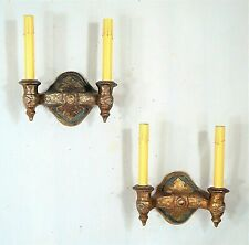 ANTIQUE EARLY 20th CENTURY DOUBLE ARM GOTHIC SCONCES IN ORIGINAL PAINT