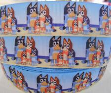 "BLUEY FAMILY characters  2 Metres 1"" 25mm Grosgrain Ribbon Cake Hair Craft"
