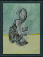 Ben Carrivick - Signed & Framed Contemporary Oil, Woman Yellow and Green