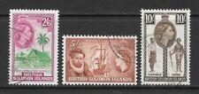 1956 Queen Elizabeth II SG93 to SG95 Wmk. Mult Script CA Used SOLOMON ISLANDS