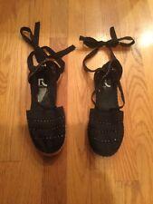 3ea0dea40 Women s Size 6.5 Report Black Woven Beaded Strappy Slip On Tie Shoes