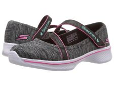 $245 Skechers Kids Girls Black Pink Go Walk 4 Slip On Athletic Sneakers Shoes 12
