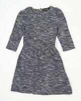 Topshop Womens Size 8 Cotton Blend Blue Skater Dress (Regular)