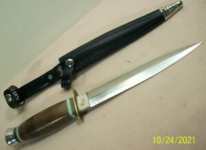1960's~HUBERTUS~UNUSED~VINTAGE COMMANDO DAGGER FIGHTING KNIFE w/ORIGINAL SHEATH