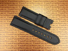 New 24mm PAM Black Leather Kevlar Strap TOILE Fabric Deployment Watch Band 24 mm