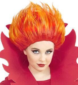 Girls Boys Kids Child Red Orange Flame Wig Scary Halloween Devil Fancy Dress