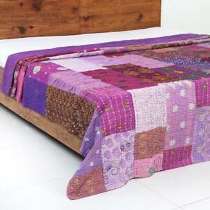 Indian Vintage Cotton Khambadia Patchwork Purple Kantha Quilt Bedspread Blanket
