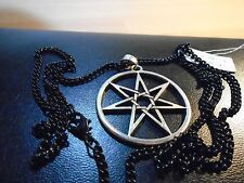 "SILVER SEPTAGRAM pendant necklace 27""  black chain  PAGAN MAGIC JEWELLERY,,"