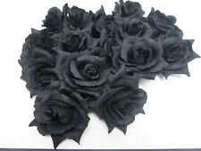 Black Rose Hair Clip Brooch Goth Occult Rockabilly PinUp 50s Burlesque Flower