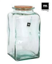 1x HAND MADE Glass jar bottle food container cork Puchades SQUARE 3L