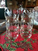 6-Lot Flying Goose/Duck, Cattails low ball Whisk Glasses Etched Vintage (Rocks)