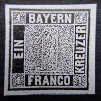 Germany 1849 Stamp MINT Bavaria Bayern Unwmk. Imperf. 1kr black reprint German D