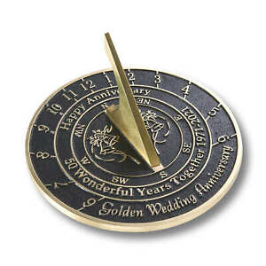 50th Golden 2021 Wedding Anniversary Sundial Gift By The Metal Foundry