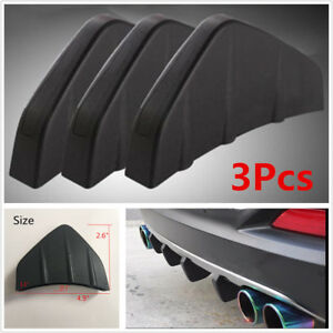 Universal 3Pcs Black PVC Rear Bumper Diffuser Molding Point Garnish For All Cars