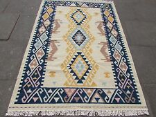 Old Traditional Hand Made Oriental Indian Kilim Beige Blue Wool Kilim 203x145cm