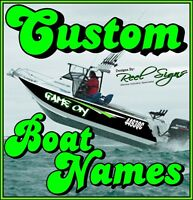2x CUSTOM BOAT YACHT NAMES + Shadow/Outline 800mm - Decal Sticker Graphic Kit