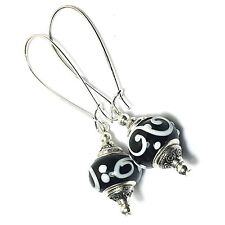 Black White Glass Bead Earrings Drop Dangle Silver Extra Long Kidney Hooks
