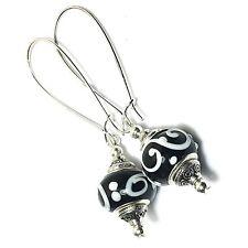 Black White Earrings Glass Bead Drop Dangle Silver Extra Long Kidney Hooks