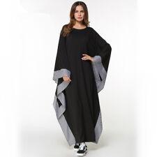Muslim Women Black Kaftan Islamic Maxi Dress Long Sleeve Arab Jilbab Abaya MLXL