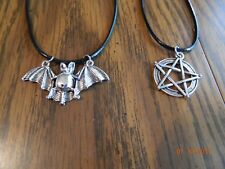 MIP- Punk,Goth,Emo pendants with 17' corded chains (2 pendant set) Halloween!!