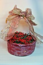 Gift Basket Supplies Round Red Country Whitewashed 5x11.5x13.5 Ready To Fill !