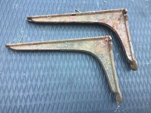 industrial Antique Cast Iron shelf wall Bracket Supports X 2