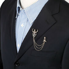 Women/Men Skeleton Collar Chain Brooch Pin Gold Fashion Jewelry for Suit