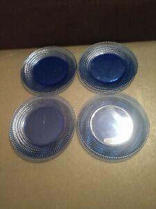 """Set of 4 Forte Crisa Mexico Cobalt Blue Glass Salad Dessert Plates 7"""" Dia"""