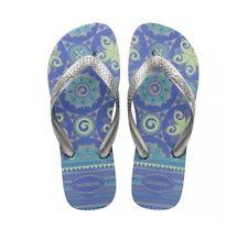 Havaianas Women's Spring Flip Flops Metallic Style Thong Patterned Footbed Uk6/7 Light Blue