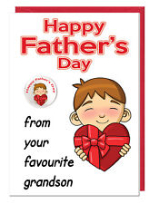 Cute Funny Fathers Day Card & Badge For Grandad - From Your Favourite Grandson