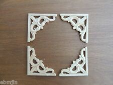 S.Carved Wood Panel 4pcs/set w/Triangle Flower