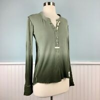 Size XS We The Free People Green Henley Blouse Top Shirt Women's Extra Small
