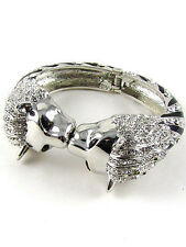 Silver Toned and Black Hinged Bracelet With Clear Rhinestone Lion Design