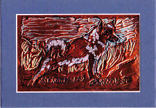 """Norwegian Elkhound"" by Ruth Freeman Etched Copper Foil 5""X 7"" With Mat"
