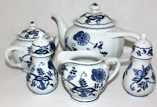 BLUE DANUBE VINTAGE PORCELAIN TEA SET LOT OF 7 NEVER USED JAPAN LOGO EXCELLENT