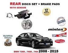FOR BMW 730D 740D 740i 2008-2015 REAR BRAKE DISCS SET + PADS SET + SENSOR