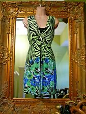 BNWOT New Anne Smith black bright green animal print floral summer dress size 14