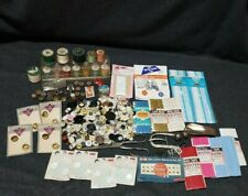 Large Vintage Sewing Notions Lot - Old Buttons, Thread Box, Bias Tape, Rick Rack