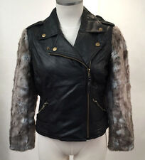 Obey Women's Motorcycle Jacket Hideout Black/Grey Fur Size S NWT Shepard Fairey